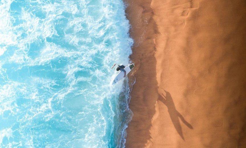 Surfing Drone Beach